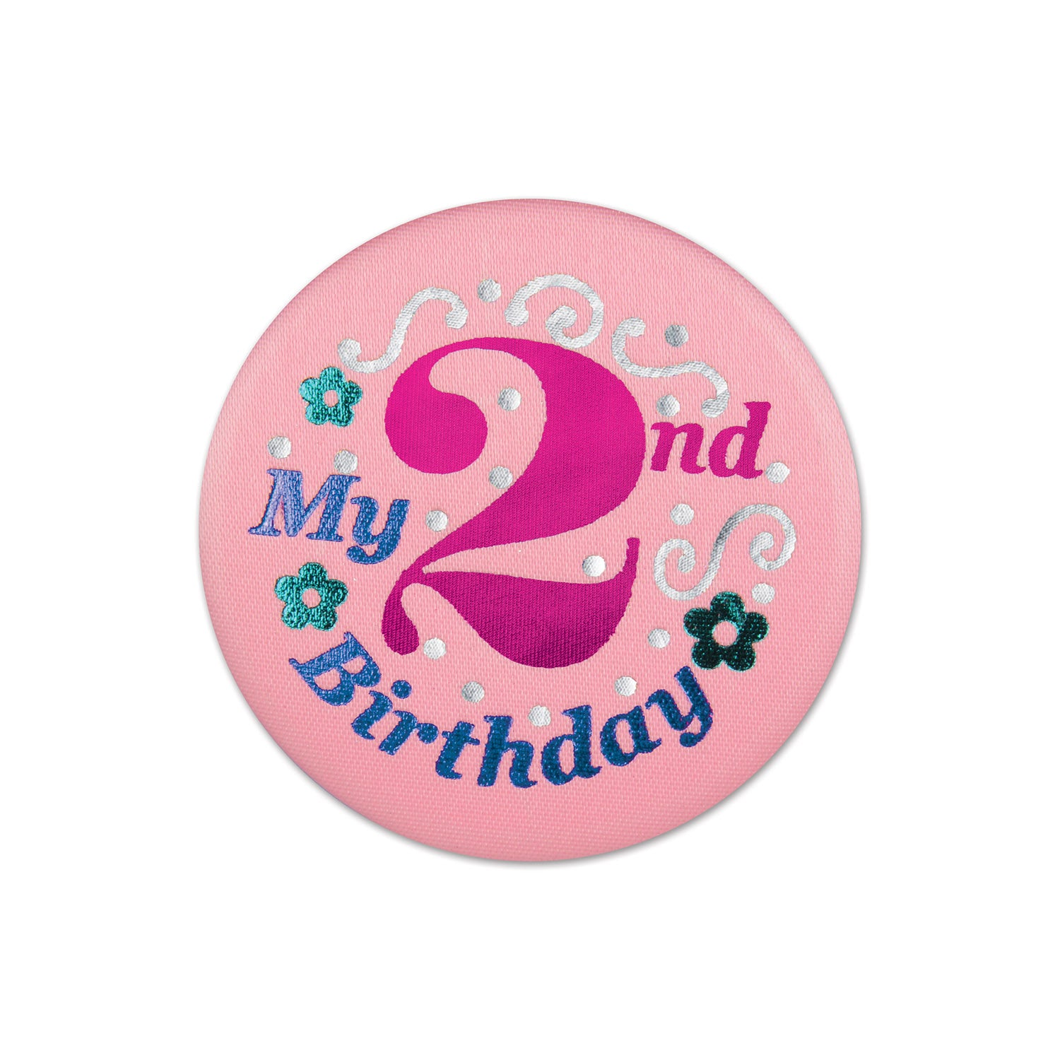 My 2nd Birthday Satin Button, pink by Beistle - 2nd Birthday Party Decorations