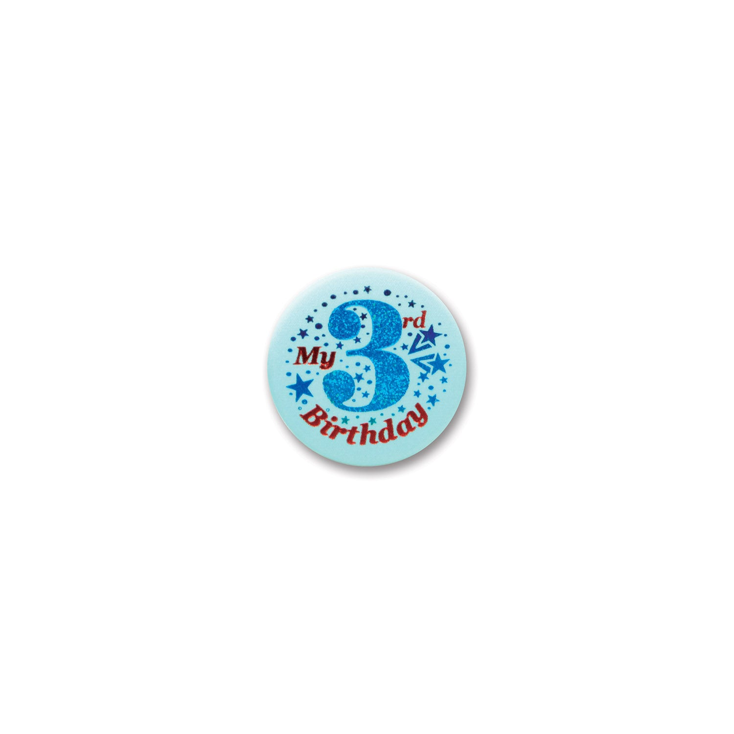 My 3rd Birthday Satin Button, blue by Beistle - 3rd Birthday Party Decorations