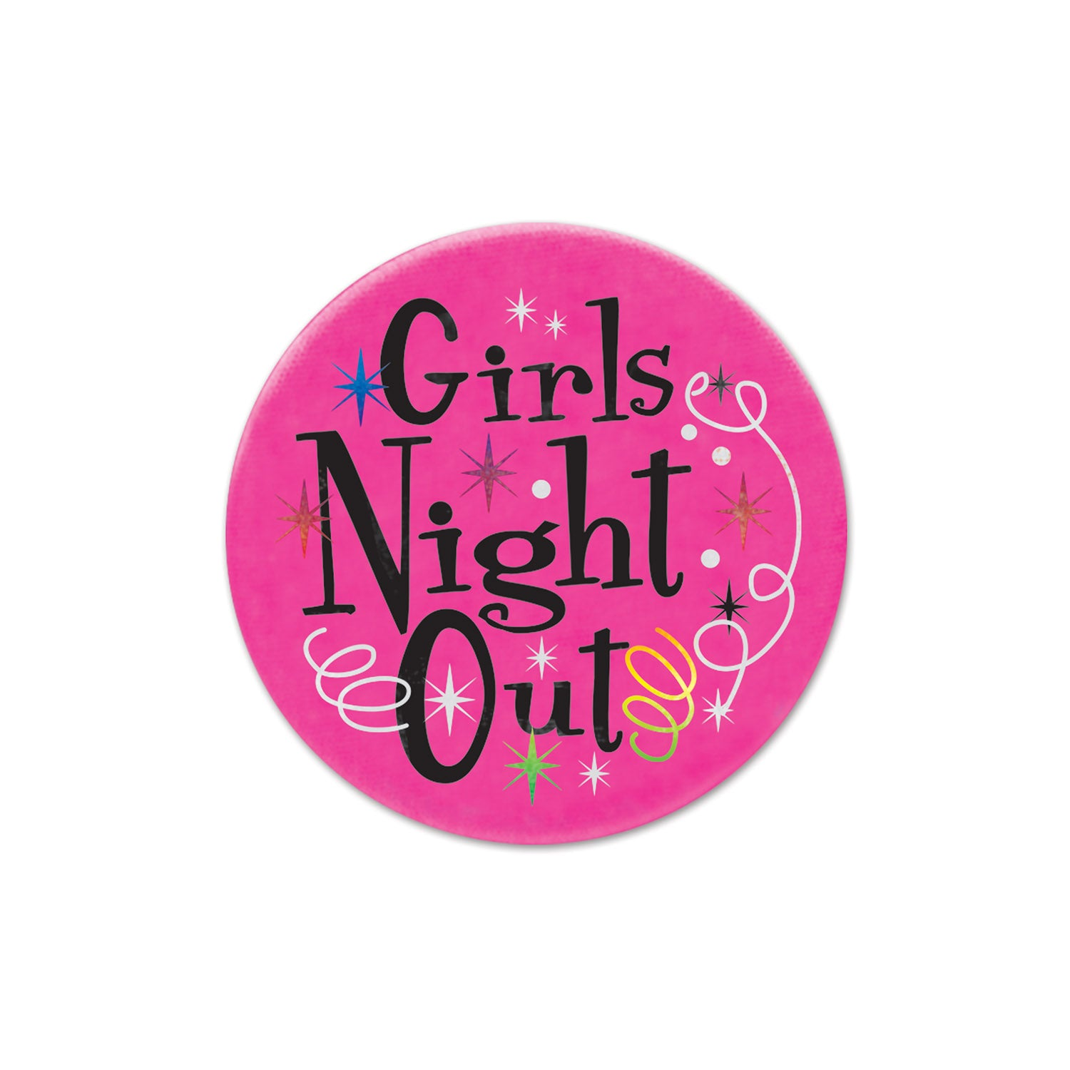 Girls' Night Out Satin Button by Beistle - Bachelorette Theme Decorations