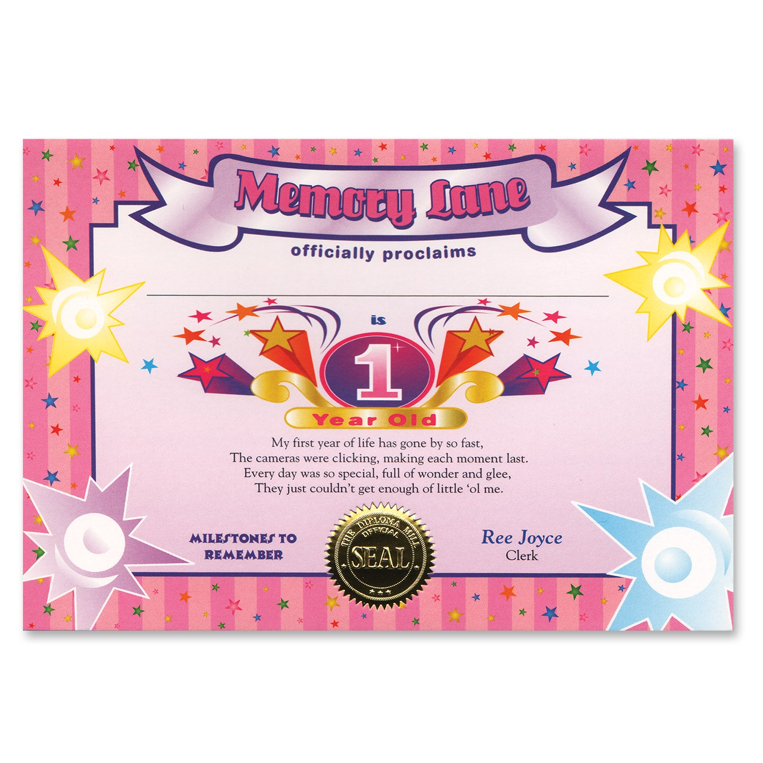 1 Year Old (Girl) Certificate by Beistle - 1st Birthday Party Decorations