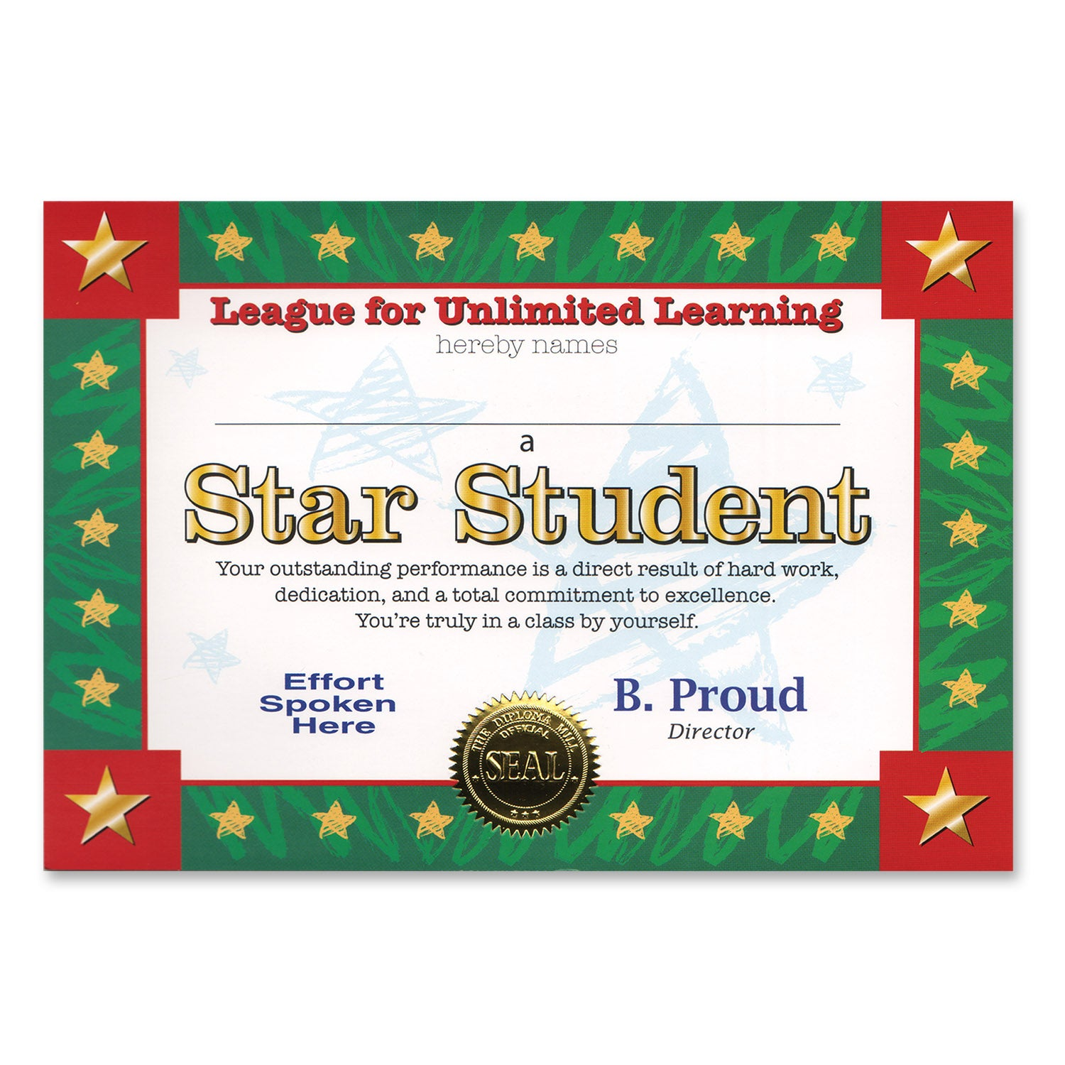 Star Student Certificate by Beistle - School Awards and Supplies Decorations
