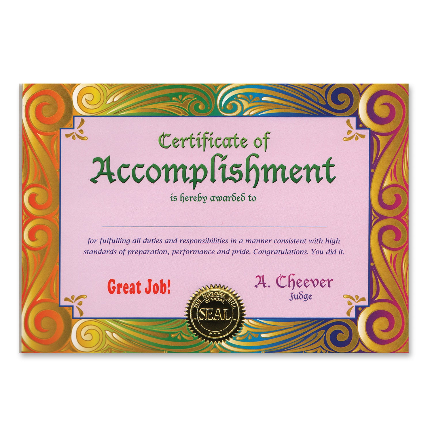Certificate Of Accomplishment by Beistle - School Awards and Supplies Decorations