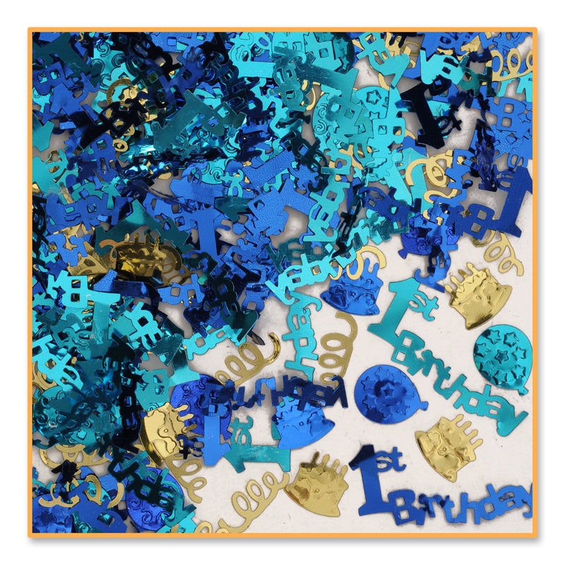 1st Birthday Confetti (.5 Oz/Pkg) Blue by Beistle - 1st Birthday Party Decorations