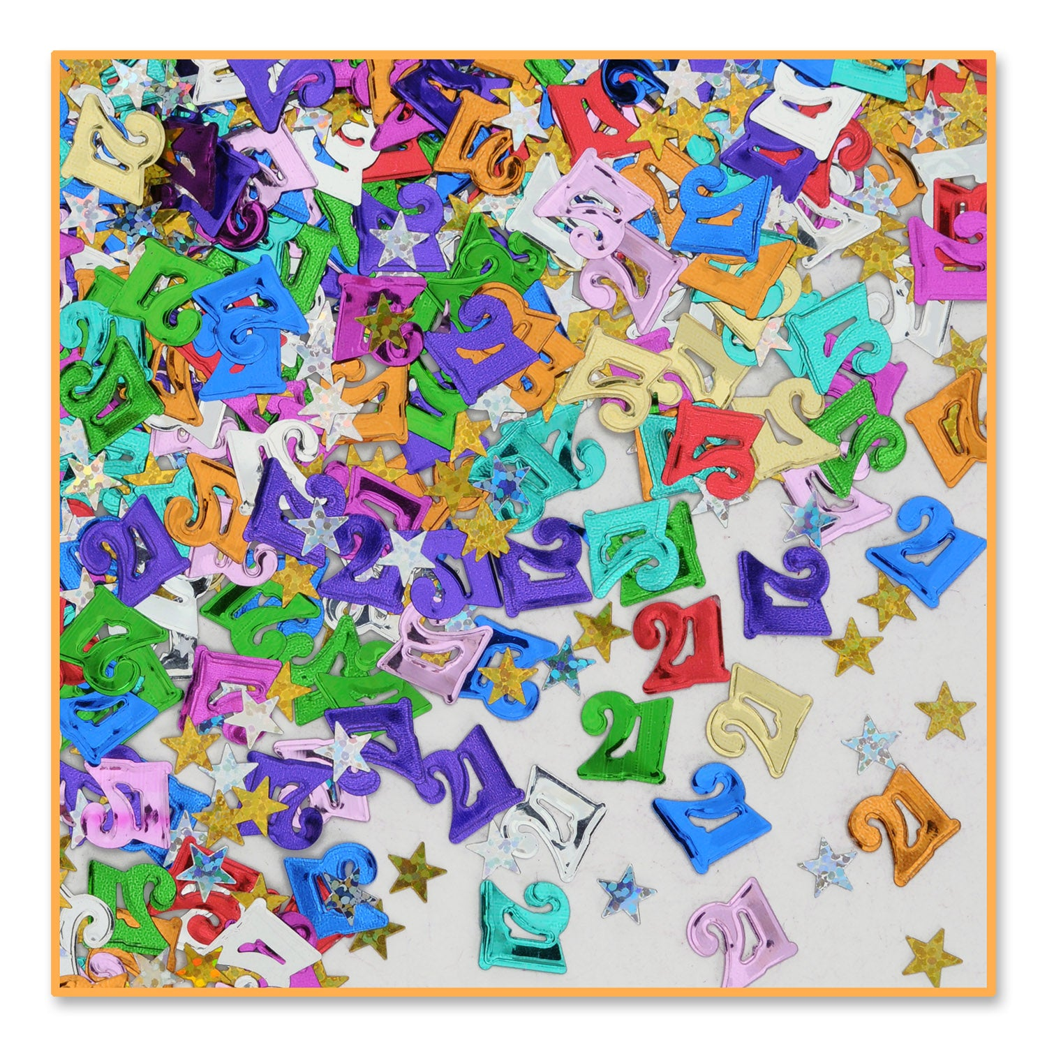 21 & Stars Confetti (.5 Oz/Pkg) by Beistle - 21st Birthday Theme Decorations