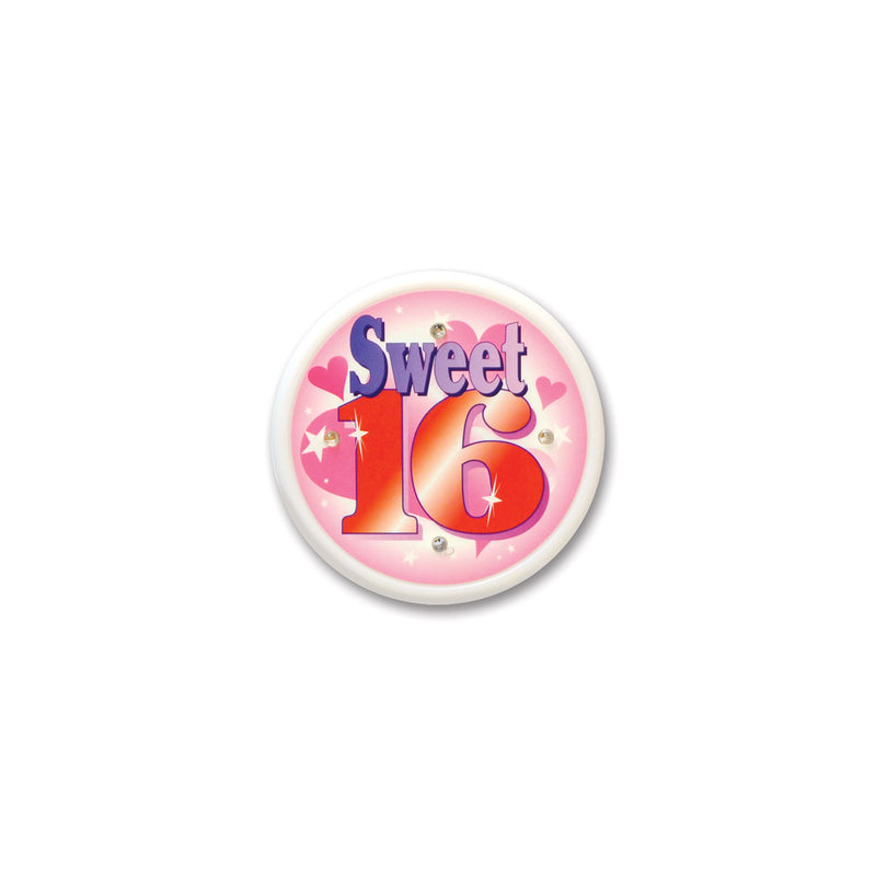 Sweet Sixteen Flashing Button by Beistle - Sweet 16 Birthday Decorations