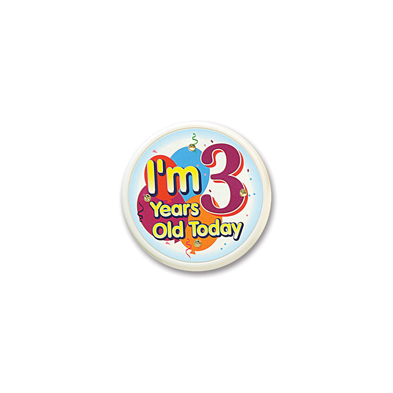 I'm 3 Years Old Today Flashing Button by Beistle - 3rd Birthday Party Decorations