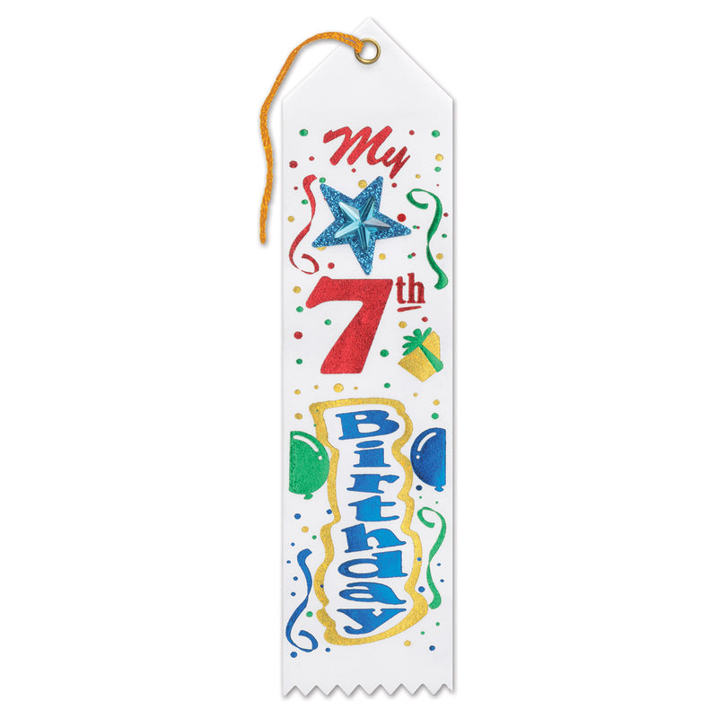 My 7th Birthday Jeweled Ribbon by Beistle - 7th Birthday Party Decorations