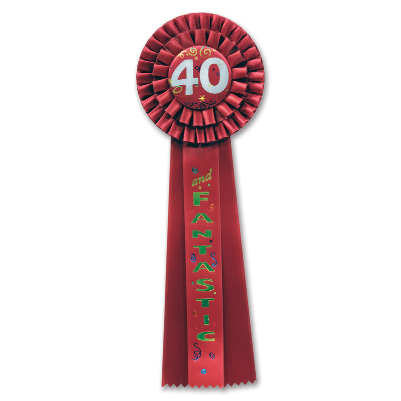 40 & Fantastic Deluxe Rosette by Beistle - 40th Birthday Party Decorations