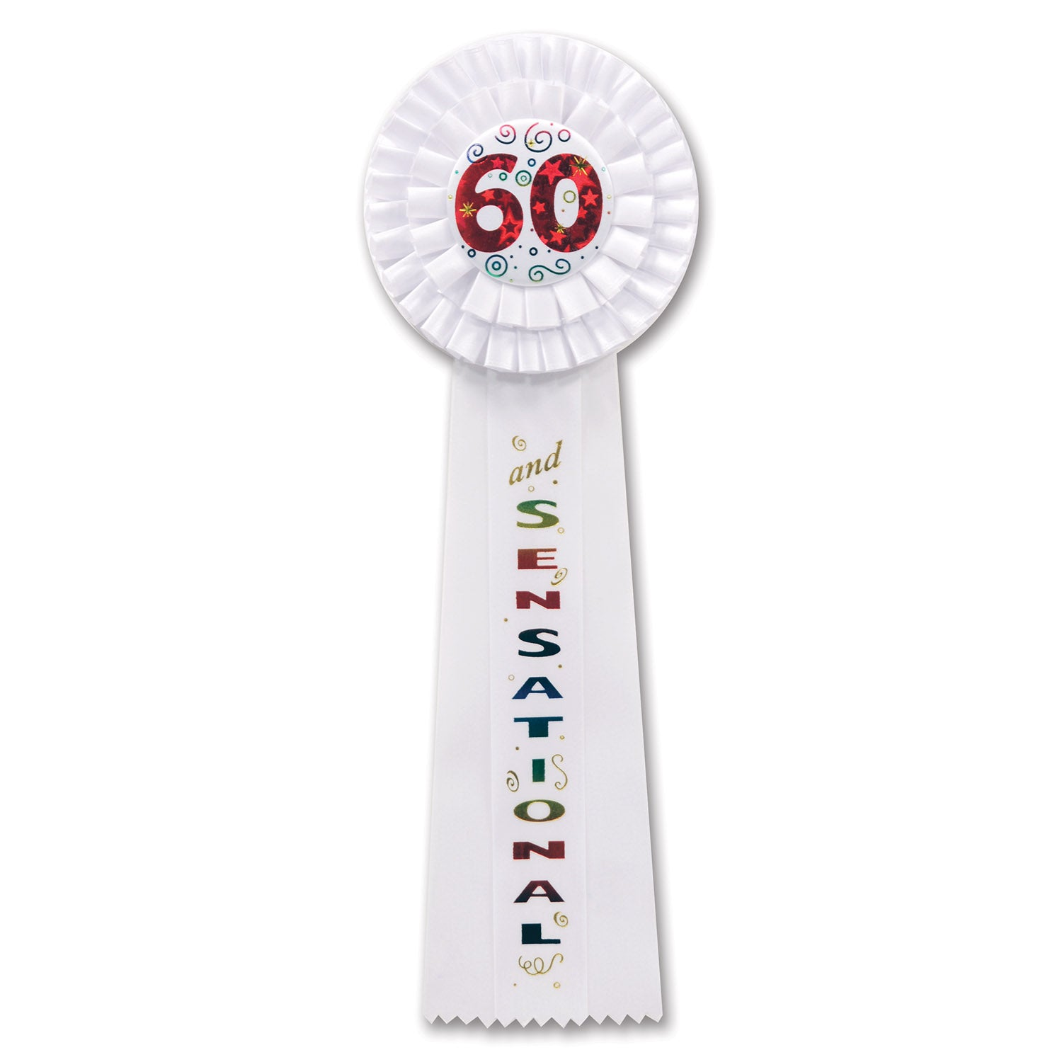 60 & Sensational Deluxe Rosette by Beistle - 60th Birthday Party Decorations