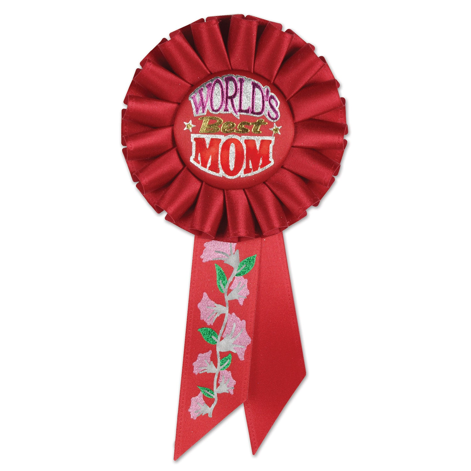 World's Best Mom Rosette by Beistle - Mother's Day Theme Decorations