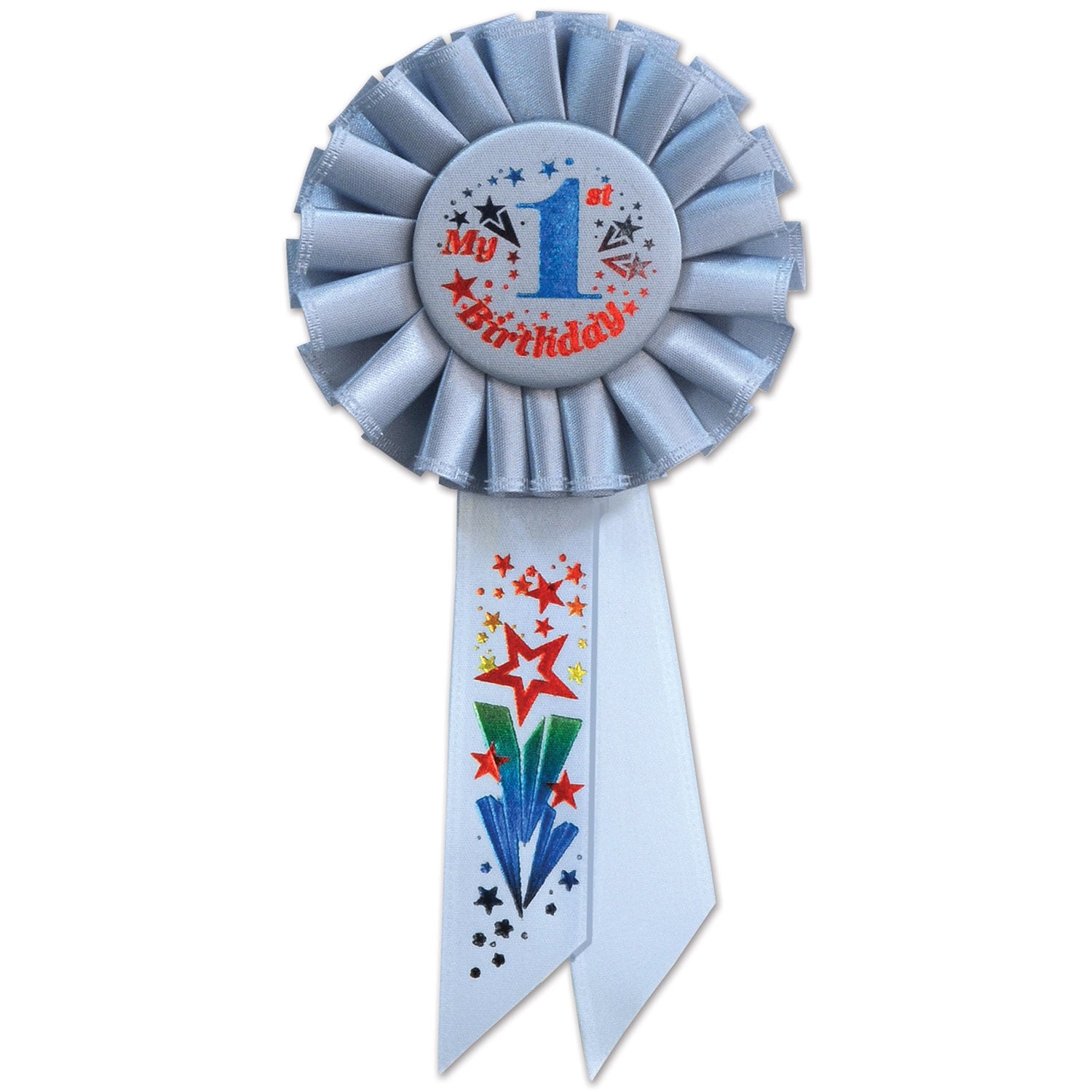My 1st Birthday Rosette, blue by Beistle - 1st Birthday Party Decorations