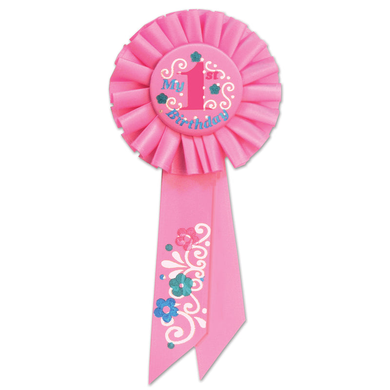 My 1st Birthday Rosette, pink by Beistle - 1st Birthday Party Decorations