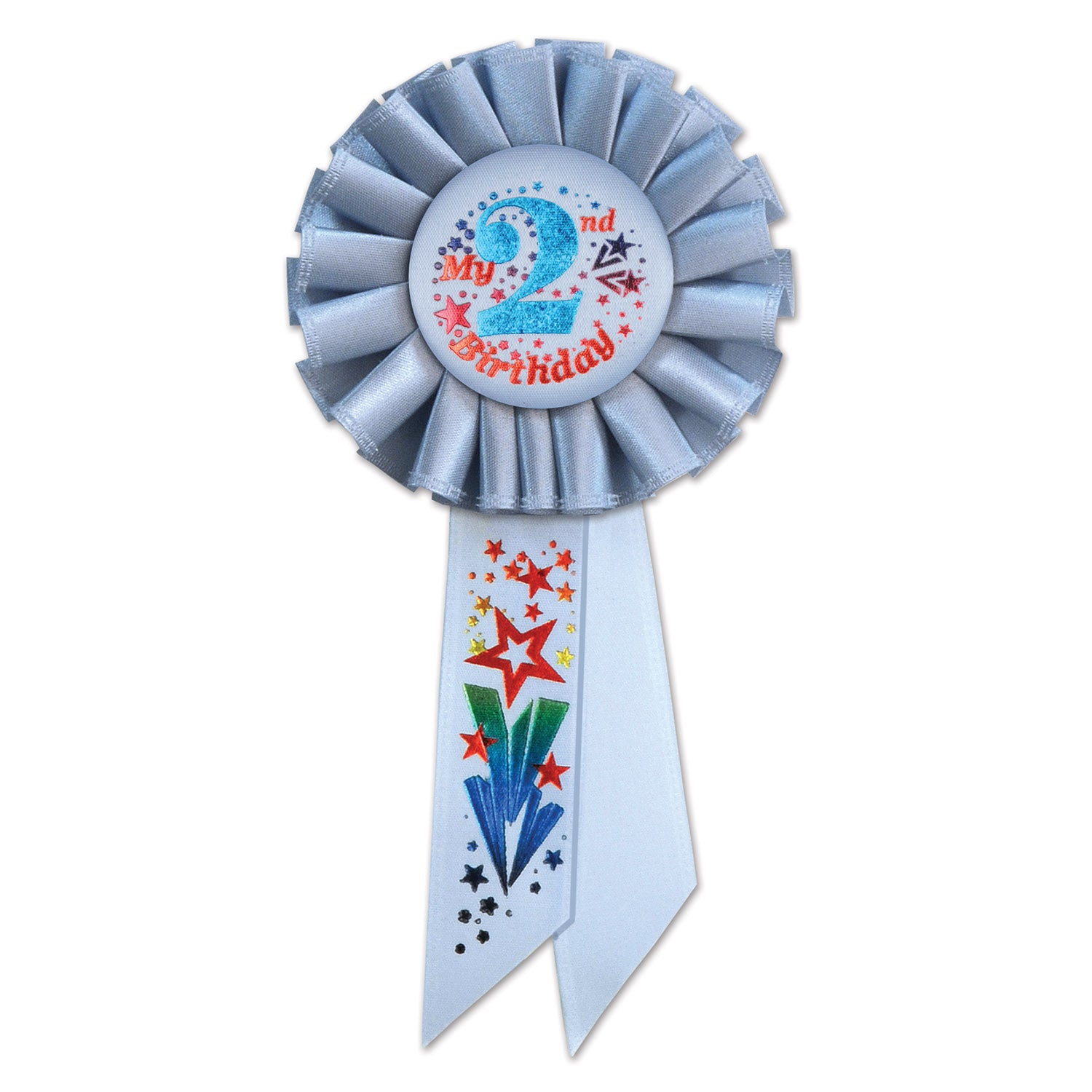 My 2nd Birthday Rosette, blue by Beistle - 2nd Birthday Party Decorations