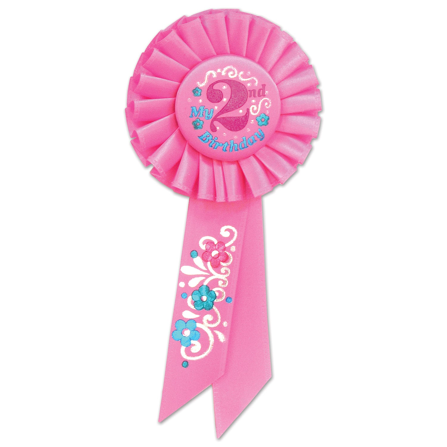My 2nd Birthday Rosette, pink by Beistle - 2nd Birthday Party Decorations