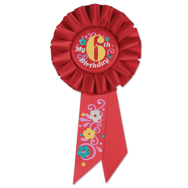 My 6th Birthday Rosette, red by Beistle - 6th Birthday Party Decorations