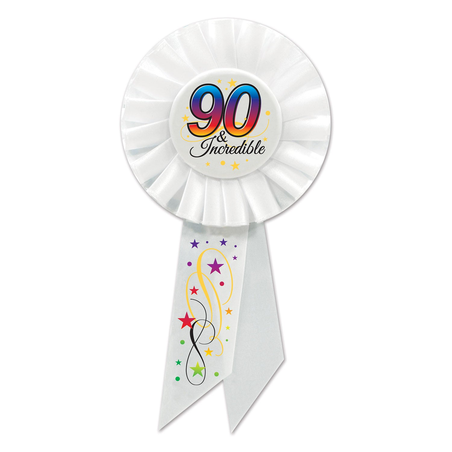 90 & Incredible Rosette by Beistle - 90th Birthday Party Decorations