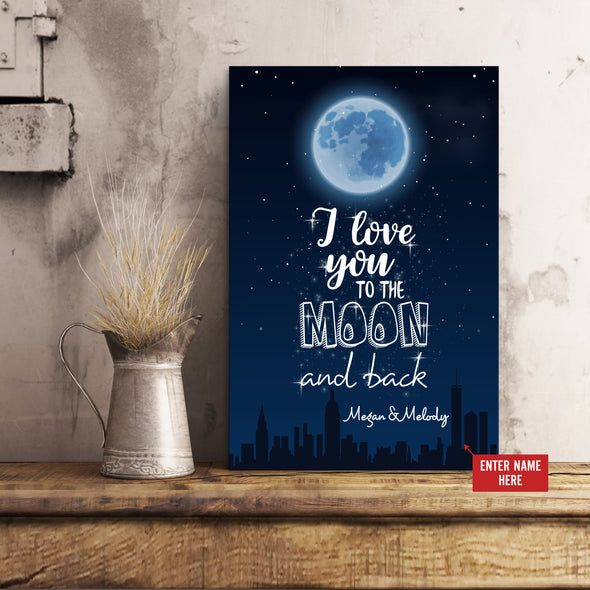Love Canvas - I Love You To The Moon and Back Personalized Canvas - LOP Store