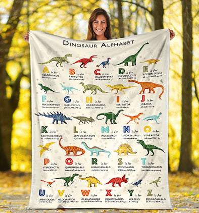 Kid Blanket - Dinosaur Alphabet Kinds of Dinosaurs Fleece Blanket