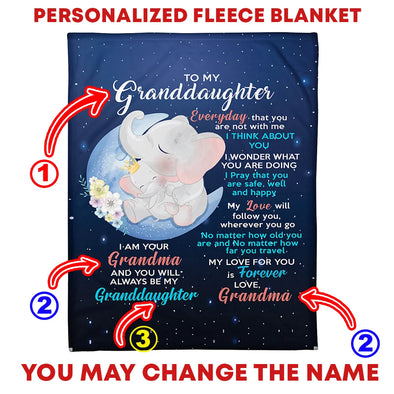 Granddaughter Blanket - Elephant To My Granddaughter Everyday That You Are Not With Me I Think About You My Love For You Is Forever Fleece Blanket - LOP Store