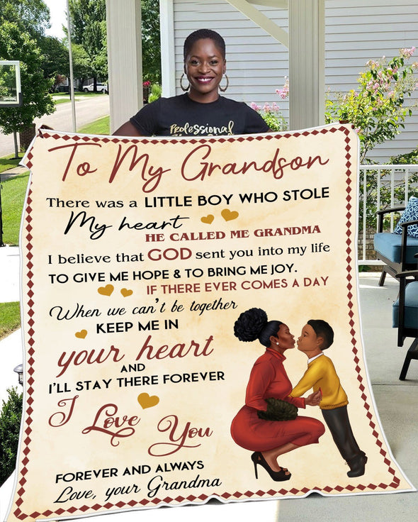 Grandson Blanket - To My Grandson I Believe God Sent You Into My Life I'll Stay In Your Heart Forever Heart Fleece Blanket - LOP Store