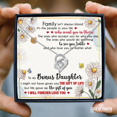 Bonus Daughter Message Necklace To My Bonus Daughter Family Isn't Always Blood It's The People In Your Life Who Want You In Theirs - Sterling Silver Necklace - LOP Store