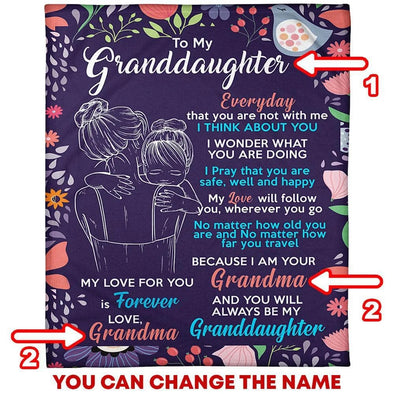 Granddaughter Blanket - To My Granddaughter My Love Will Follow You Wherever You Go You Will Always Be My Granddaughter Fleece Blanket - LOP Store