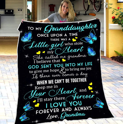 Granddaughter Blanket - To My Granddaughter There Was A Little Girl Who Stole My Heart She Called Me Grandma - Fleece Blanket