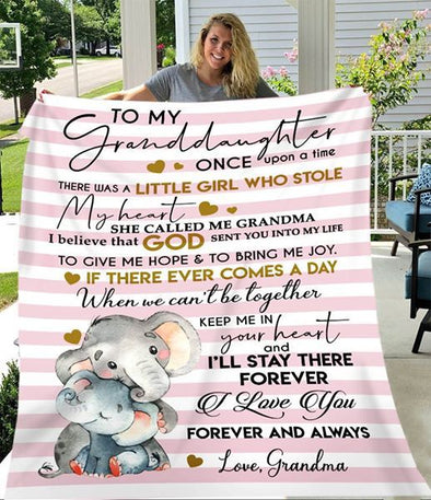 Granddaughter Blanket - To My Granddaughter I Believe God Sent You Into My Life To Give Me Hope To Bring Me Joy I Love you Forever and Always Fleece Blanket - LOP Store