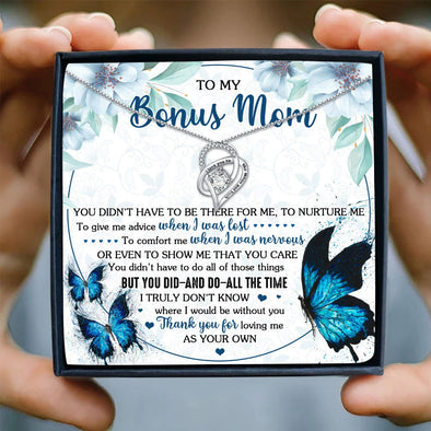 Bonus Mom Message Necklace To My Bonus Mom You Didn't Have To Be There For Me Nurture Me Give Me Advice When I Was Lost You Did All The Time Thank You For Loving Me - Sterling Silver Necklace - LOP Store