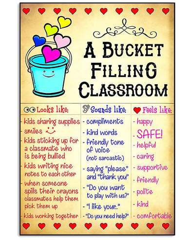 Student Canvas - A Bucket Filling Classroom Kids Sharing Supplies Smiles Kids Sticking Up For A Classmate Who Is Being Bullied Kids Working Together Canvas - LOP Store