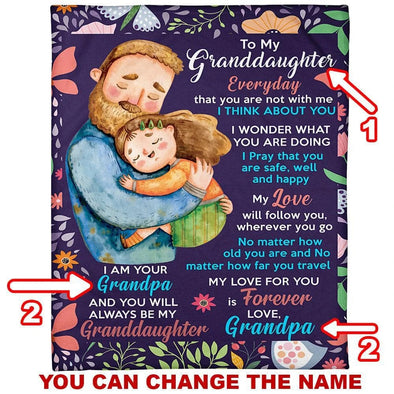 Granddaughter Blanket - To My Granddaughter Everyday That You Are Not With Me I Think About You No Matter How Old You Are and Mo Matter How Far You Travel Fleece Blanket - LOP Store