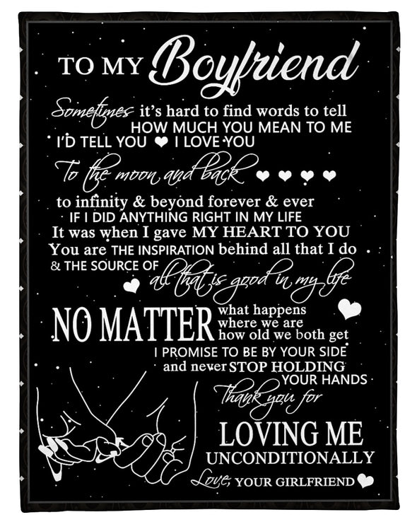 Boyfriend Blanket - To My Boyfriend I Love You To The Moon and Back Thank You For Loving Me Unconditionally Fleece Blanket - LOP Store