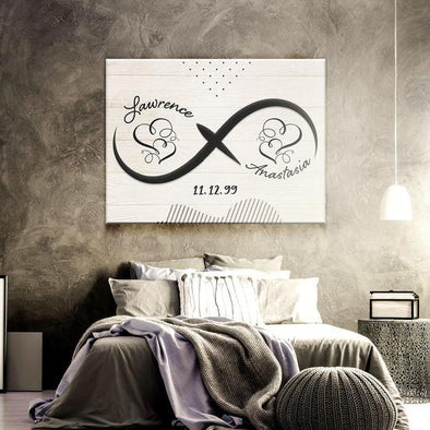 Love Canvas - Customized Name and Date Infinity Love Anniversary Canvas - LOP Store