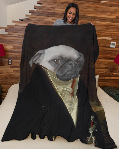Funny Blanket - Funny Dogs A Noble Pug Customized Photo Fleece Blanket - LOP Store