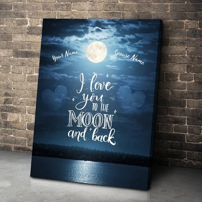 Love Canvas - I Love You To The Moon and Back Customized Name Love Anniversary Canvas - LOP Store