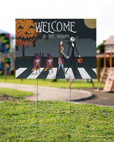 Halloween Yard Sign - Welcome To Our Family Happy Halloween Yard Sign