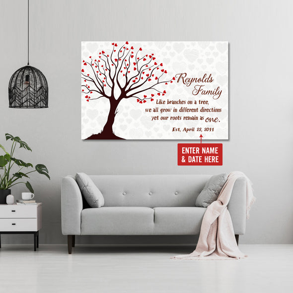 Family Canvas - We Will Grow In Different Directions Our Roots Remain As One Personalized Canvas - LOP Store