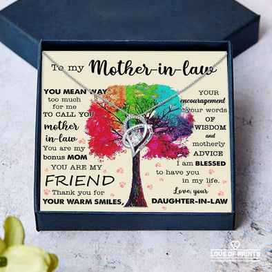 Mother-In-Law Message Necklace To My Mother-In-Law You Mean Way Too Much For Me To Call You Mother-In-Law Thank You For Your Warm Smiles - Sterling Silver Necklace - LOP Store