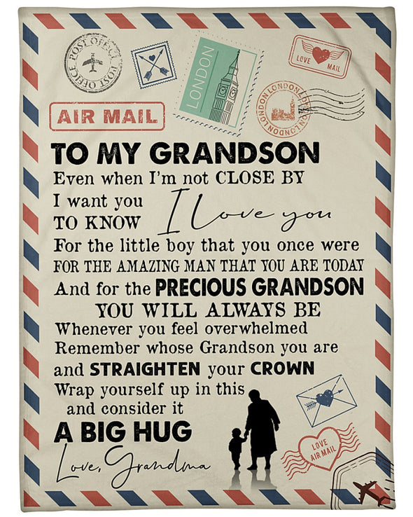 Grandson Blanket - To My Grandson Even When I'm Not Close By I Want You To Know I Love You Fleece Blanket - LOP Store