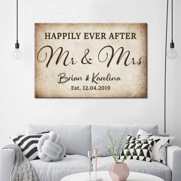 Love Canvas - Happily Ever After Mr Mrs Personalized Canvas - LOP Store