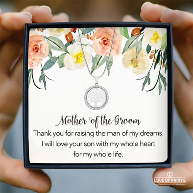 Mother-In-Law Message Necklace Mother Of The Groom Thank You For Raising The Man of My Dreams I Will Love Your Son With My Whole Heart - Sterling Silver Necklace - LOP Store