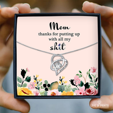 Mother Message Necklace Thank You For Putting Up With Me - Sterling Silver Necklace - LOP Store