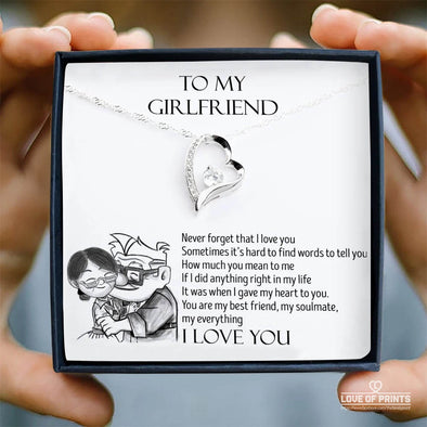 Girlfriend Message Necklace To My Girlfriend Never Forget That I Love You If I Did Anything Right In My Life I Gave My Heart To You - Sterling Silver Necklace - LOP Store