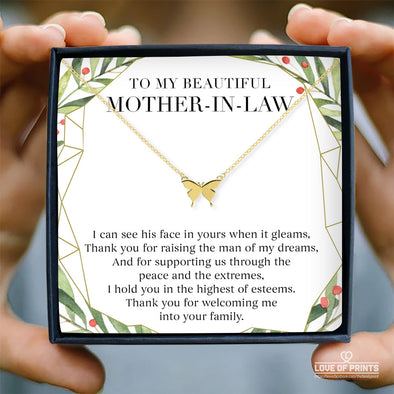 Mother-In-Law Message Necklace I Can See His Face In Yours When It Gleams Thank You For Raising The Man Of my Dreams Thank You For Welcoming Me Into Your Family - Sterling Silver Necklace - LOP Store