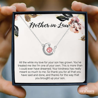 Mother-In-Law Message Necklace All The While My Love For Your Son Has Grown You've Treated Me Like I'm One Of Your Own - Sterling Silver Necklace - LOP Store