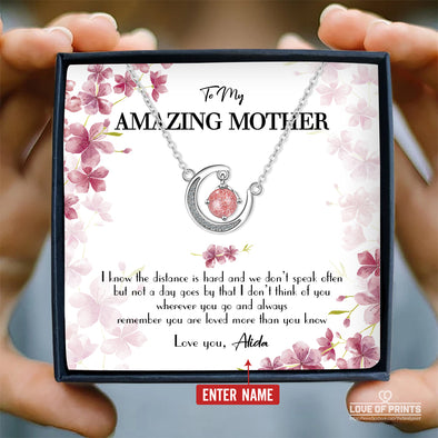 Mother Personalized Message Necklace To My Amazing Mother I Know The Distance Is Hard You Are Loved More Than You Know - Sterling Silver Necklace - LOP Store