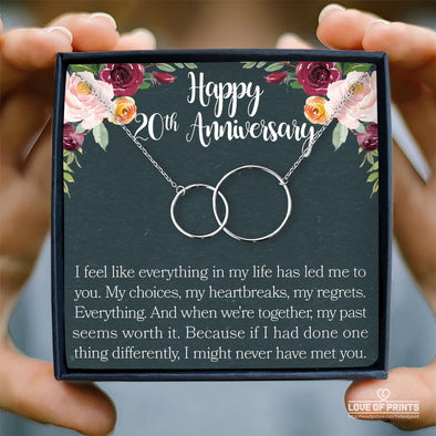 Husband Wife Message Necklace Happy Anniversary I Feel Like Everything In My Life Has Led Me To You My Choices My Heartbreaks My Regrets Everything - Sterling Silver Necklace - LOP Store
