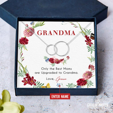 Grandma Personalized Message Necklace Only The Best Mom Are Upgraded To Grandma - Sterling Silver Necklace - LOP Store
