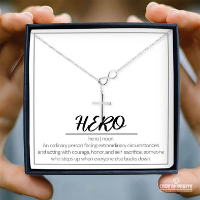 Message Necklace Hero A Ordinary Person Facing Extraordinary Circumstances and Acting With Courage Honor - Sterling Silver Necklace - LOP Store