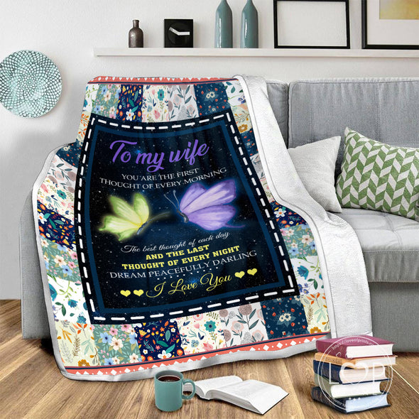 Wife Blanket - To My Wife You are The First Thought Of Every Morning The Best Thought of Each Day Fleece Blanket - LOP Store